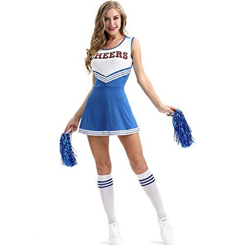 Elonglin Déguisement Femme Pompon Girl Déguisement de Pom-Pom Girl Robe Uniforme avec Pompons Cosplay Costume de High School Musical Debardeur Jupe Halloween Bleu Taille FR 36 (Asie XS)
