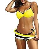 KPILP Femme Maillot de Bain Sexy Bikini 2019 Femme Printemps et Eté Nouveau Confortable Bande Elastique La Mode Impression Femme Sexy Bikini Maillots de Bain 3 Pièces (Jaune,FR-36/CN-M)