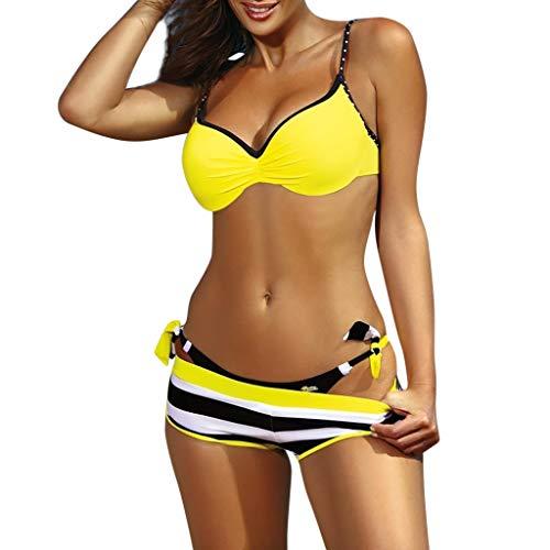 Honestyi Gepolsterter Push Up BH Für Damen Bikini Set Badeanzug Bademode Beachwear Sommer Badebekleidung Dreiteiligen Anzug(Gelb,L)