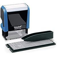 Trodat Printy 4911 Typomatic – Sello de entintaje automático con tinta incorporada e imprentilla para componer un texto de hasta 3 líneas – Tinta azul