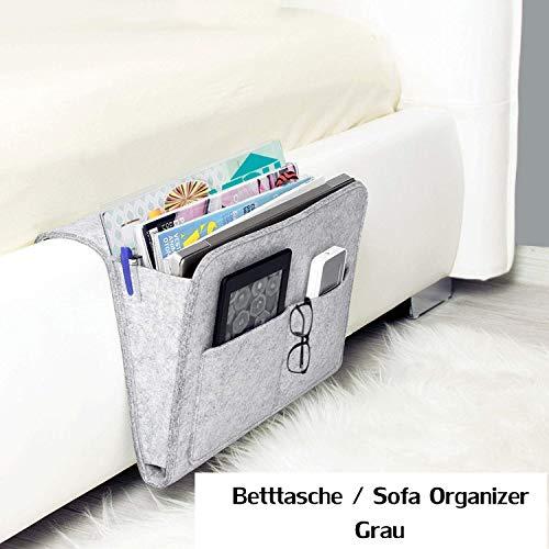 workbees Betttasche, Sofa Organizer | Dicke Filz Anti-Rutsch Nachttisch Tasche für Buch, Zeitschriften, iPad, Handy, Fernbedienung (Grau)
