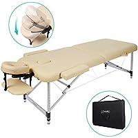 Naipo Massageliege Massagebank Massagetisch Klappbar Höhenverstellbar Leicht Tragbar mit 2 Zonen Aluminium-Füßen hochwertiger Kopfstütze Tragtasche Beige