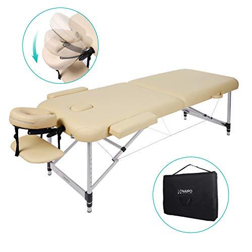 Naipo lettino da massaggio deluxe professionale portatile a 2 sezioni con piedini in alluminio per terapia reiki healing tattoo massaggio thai svedese, 11.6 kg beige (capacità di carico 270kg)