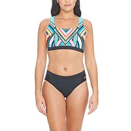 Zoggs Damen Breeze Muscle 2 Piece Sport Bikini, Multi/Black, 34 -