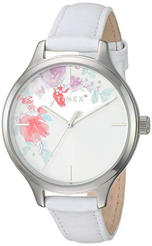 Timex Women\'s TW2R66800 Crystal Bloom White/Silver Floral Accent Leather Strap Watch
