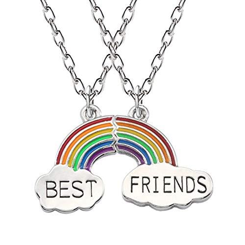 TOOGOO Beste Freunde Halskette EIN Paar Emaille Puzzle Regenbogen Wolke Anh?nger Halskette Freundschaft BFF Schmuck Geschenk Für Halskette Frauen