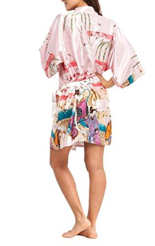 ACVIP Femmes Peignoir Imprimé Court, Robe de Chambre Soie Artificielle, 5 Couleurs Rose