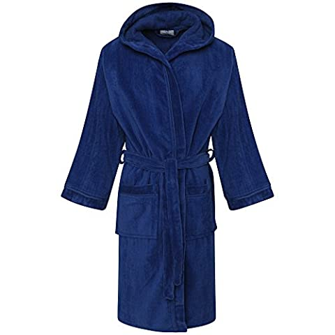 Kids 100% Egyptian Cotton Hooded Velour Terry Towelling Bathrobe Bath Robe Dressing Gown Age 6-14yrs (8-10, Royal