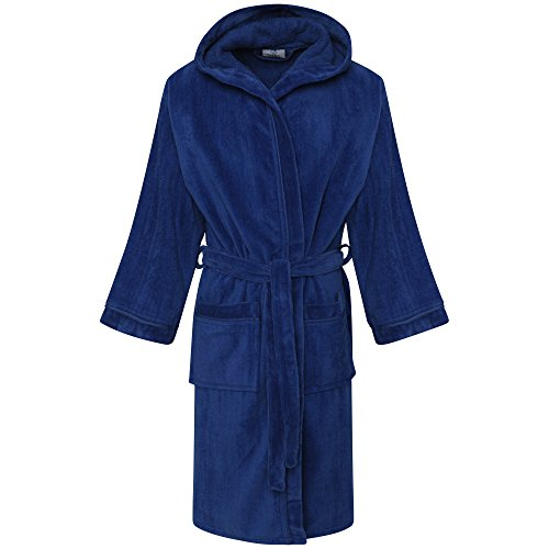 Linen Galaxy Kids Boys Girls Royal Blue Velour Hooded Bathrobes Terry Towel Egyptian Cotton Dressing Gown (6-8 Years)