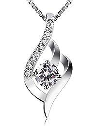 B.Catcher Kette Damen 925 Sterling Silber Zirkonia Twist Halskette Anhänger mit Etui Italien Kette 45CM