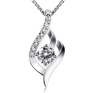 B.Catcher Kette Damen Halskette Anhänger 925 Sterling Silber 5A Zirkonia Twist 45CM Kettenlänge Valentinstag Geschenk