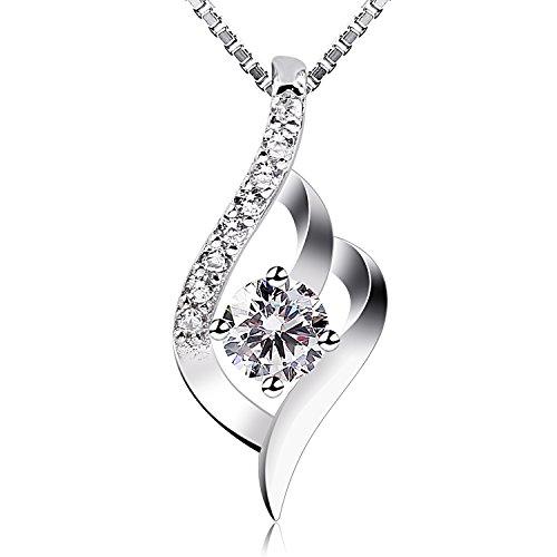 B.Catcher Kette Damen Halskette 925 Silber Anhänger Silberschmuck Zirkonia Twist 45CM Kettenlänge Geschenk für Damen