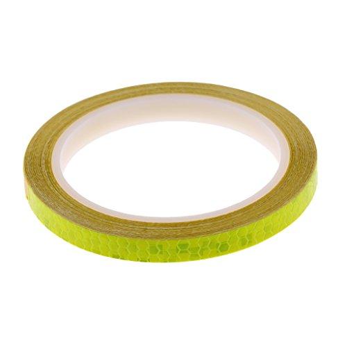 Gazechimp 1 Stück Reflektierende Aufkleber Wasserdicht Aufkleber Fahrrad Motorrad Reflektor Band 8m - Gelb