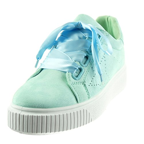 Angkorly Scarpe da Moda Sneaker Tennis Zeppe Donna Lacci in Raso Tacco Tacco Piatto 3.5 cm Blu