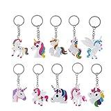 10pcs unicornio llavero Unicorn design Ferroviario de bolsa colgante llavero para...