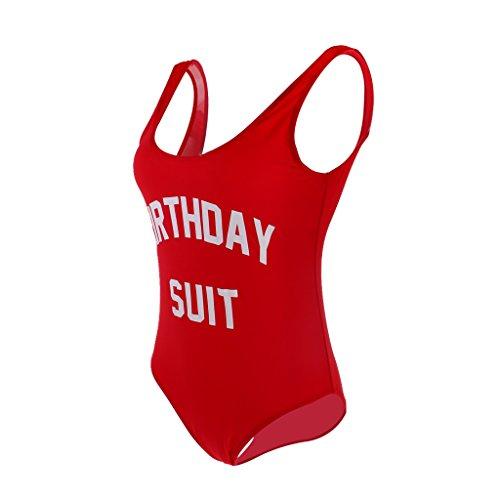 MagiDeal Badeanzug/Badekleid/Tankini für Hochzeit Geburtstag Party - Rot Birthday suit, S