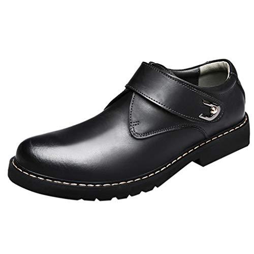 Sunday Herren Lederschuhe Elegant Business Schuhe Mode Freizeitschuhe mit Schnalle Schwarz, Braun, Grau 39-44 (43 EU, Schwarz)