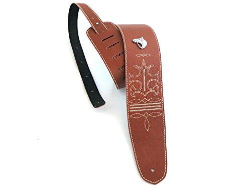tracolla-chitarra-e-basso-in-pelle-marrone-con-ricamo-texas-e-applicazione