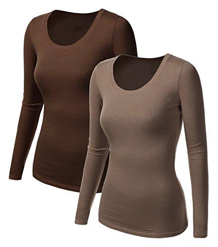 2x Damen Langarm T-Shirt - Basic TShirt - Basis Bluse - Tshirt - 2er Pack - Top Kaffee + Braun