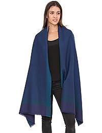 Herringbone Handwoven Textured Merino Wool Pashmina Scarf Blue