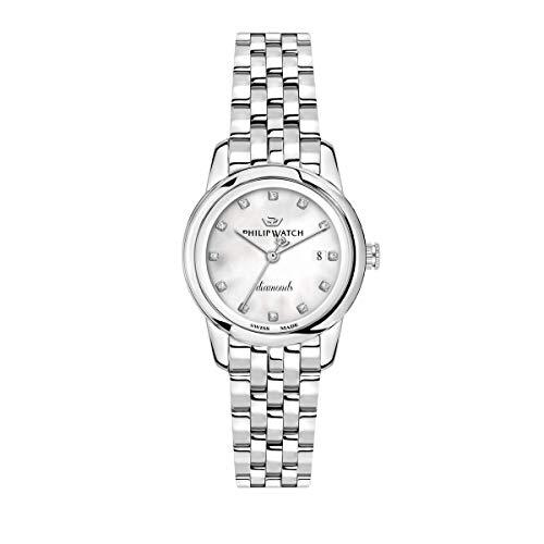 Philip Watch Orologio da donna, Collezione Anniversary, movimento al quarzo, funzione tempo e data, in acciaio con diamanti naturali - R8253150505