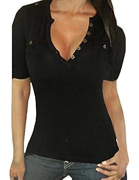 StyleDome Damen Kurzarm V-Ausschnitt Stretch Shirt Bluse Top Knopf