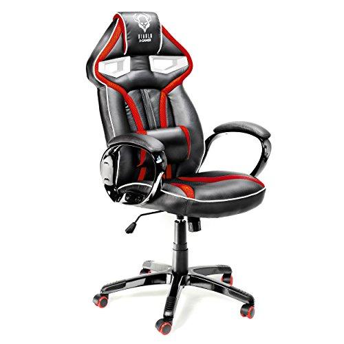 Diablo X-Gamer silla gamer silla escritorio cuero artificial almohada lumbar función de inclinación cómodos apoyabrazos cargable hasta 120 kg selección de color (negro-rojo)