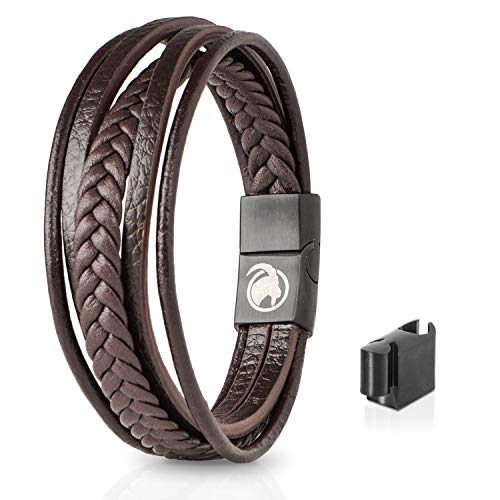STEINBOCK7 Männer Lederarmband mit Magnetverschluss - Armband aus Leder in Geschenkbox (Braun)