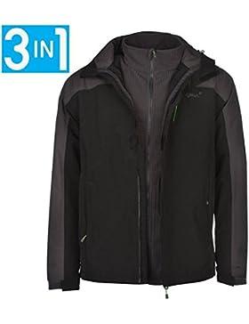 Gelert–Horizon 3en 1Forro Polar Interior y chaqueta para hombre color negro chaquetas abrigos Outerwear, negro...