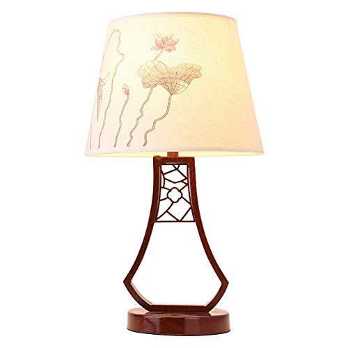 YJFFAN Vintage Tischlampe Nachahmung Holzmaserung Eisen Mit Tuch Lotus Muster Schatten Nachtlicht Für Nachtstudie Augenschutz Schreibtischlampe Haus Beleuchtung E27 - Schatten Lotus