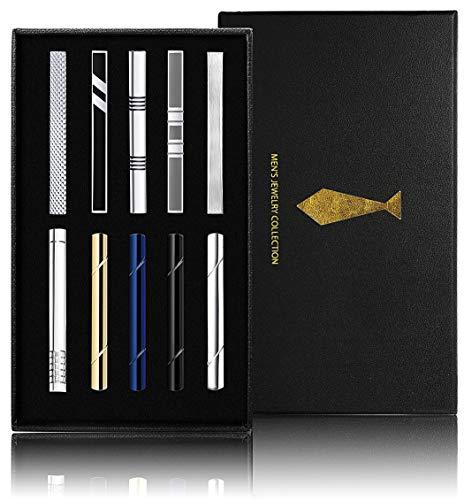 Yadoca 10 Pezzi Set di Fermacravatta per Uomo Metallo di Rame Classico Clip per Cravatta Nozze attività Coerciale con Pacco Regalo