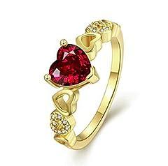 Idea Regalo - Aeici Oro Anello per Donna Moda Placcato Oro Cristallo A Forma di Cuore Placcato in Oro Dimensione 17