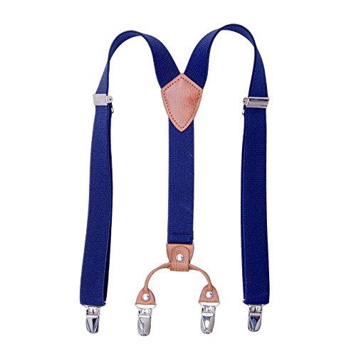 Kinder Klammern Clip auf Hosenträger - Getreide Leder Elastisch Einstellbar Mit 4 Clips Y Form Hosenträger(Navy blau) (Leder-hose Für Jungen)