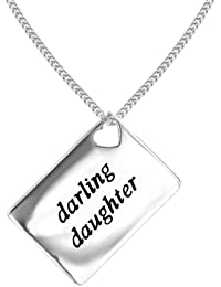 Lily & Lotty Love Letters Rhodium Plated 925 Sterling Silver Hand Set Diamond Darling Daughter Necklace of Length 46 cm