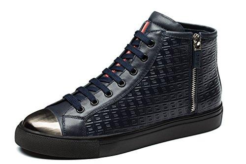OPP Hommes Mode Chaussures de Travail Side Zip Sneaker Hautes Bleu