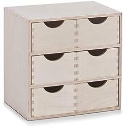 Zeller 13192 Coffret 6 tiroirs en bouleau, 28 x 20 x 28 cm