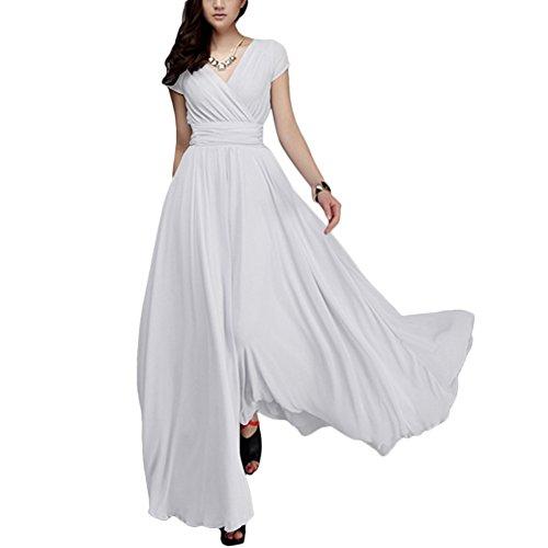 OBEEII Damen Elegant Ärmellos V-Ausschnitt Spitzenkleid Brautjungfer Partykleid Festliches Kleid...