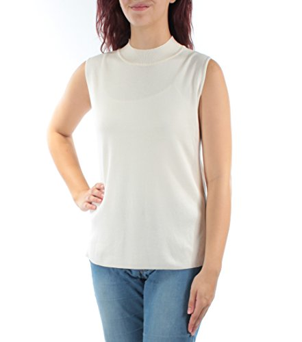 Alfani Women's Medium Mock Neck Ribbed Tank Knit Top White M Alfani Mock Neck