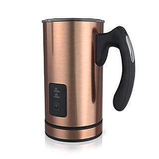 Arendo - Milchaufschäumer Edelstahl automatisch   Milk Frother   rostfreies Edelstahl-Doppelwanddesign   2 Tasten für Warm- und Kaltaufschäumen