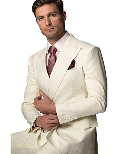 YYI Herren Spitzenreversanzug Jacke Tux Hose 2-teiliges Anzugset -