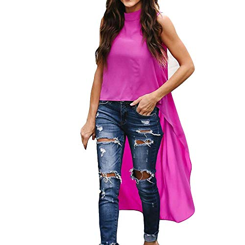 39f1de3e1cd47 Geili Damen Mode Cool Lange Bluse Frauen Unregelmäßige Rüschen Hem Shirt  Langarm Einfarbig Pullover Tops Party Blusen