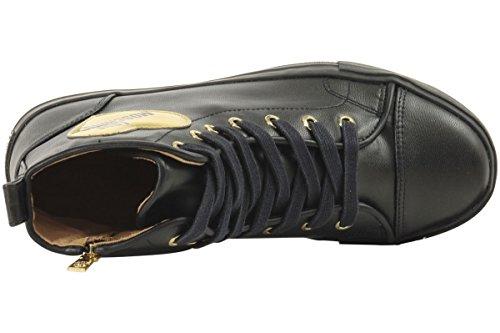 Love Moschino Gold Heart Femme Baskets Mode Noir Nero
