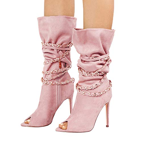 OSYARD Damen Fisch Mund Langschaftstiefel Wildleder Schnürstiefelett Reißverschluss Boho Boots, Zipper Fisch Mund Hohe Stiefel Overknee Stiefel High Heels Schuhe