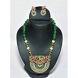 Divita Designs Women Traditional American Diamond Pearl Pendant Set (Green)