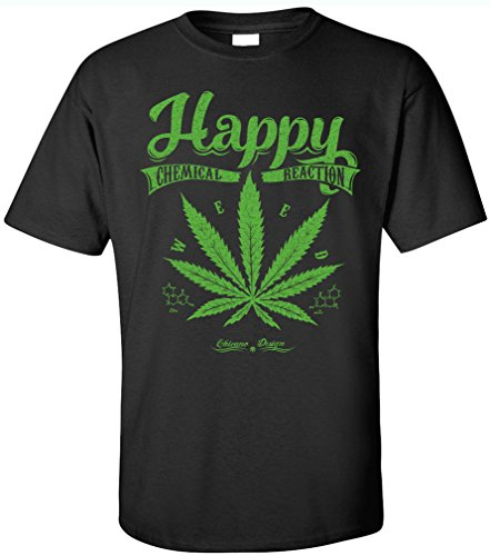 PAPAYANA - HAPPY-WEED - Herren T-Shirt - LEGALIZE CANNABIS SMOKE KUSH WEED FUN GEEK, XL, schwarz (420 Bedruckte Weed T-shirts)