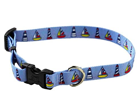 YellowDog Design Sailboats and Lighthouses Adjustable Collar,