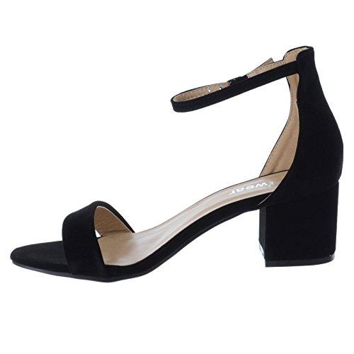 d22bc2e0f1284d ... Damen NIEDRIG MID Blockabsatz Knöchelriemen kaum There offen Peep Toe  Sandalen Schuh Größe schwarz Kunstwildleder
