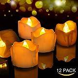 Velas de LED 12 Pcs, FOCHEA Velas Eléctricas Sin Llama para Bodas Decoración, Navidad, San Valentín, Cumpleaños, Fiestas (Amarillo)