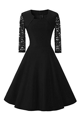 Damen Abendkleid mit angenähtem Bolero und 3/4 Ärmel, (Kostor) A-line und Empire Taille Kleider, Knielang Elegant Cocktailkleid mit Spitzen- - Schwarz - XL