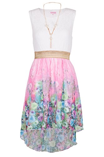 NOROZE Girls Kids Summer Party Sleeveless Lace Top Floral High Low Dress 3-13 Years